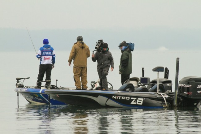 Day 2 leader Takahiro Omori attracted a lot of attention this morning from the cameraman recording video for Bassmaster TV and Bassmaster.com.  Photo: Steve Bowman