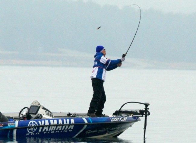 Omori starts his day firing off a creature bait into the waters of Lake Hartwell. Photo: Steve Bowman