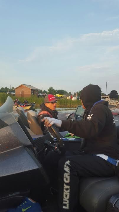 Kevin Hawk and Takahiro Omori  discussing  the game  plan. Photo by Bassmaster Staff